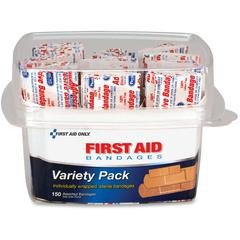 First Aid Only Assorted Bandage Box Kit - 1Each - 150 - Clear - Plastic, Fabric