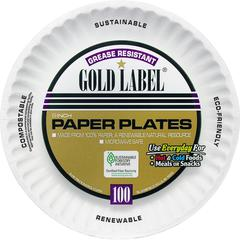 "AJM Paper Dinnerware - 9"" Diameter Plate - Paper - Disposable - Microwave Safe - White - 100 Piece(s) / Pack"