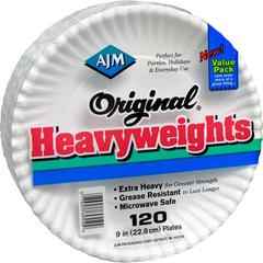 """AJM Packaging Original Heavyweights Plates - 9"""" Diameter Plate - Paper - Disposable - Microwave Safe - White - 120 Piece(s) / Pack"""