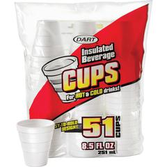 Dart Insulated 8-1/2 oz. Beverage Cups - 8.50 fl oz - 51 / Pack - White - Foam - Hot Drink, Cold Drink, Coffee, Hot Chocolate, Soft Drink, Iced Tea