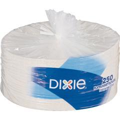 "Dixie 9"" Economy White Paper Plates - 9"" Diameter Plate - Paper - White - 250 Piece(s) / Pack"