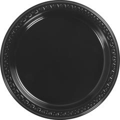 "Huhtamaki Heavyweight Dinnerware Plate - 7"" Diameter Dinner Plate - Plastic - Black - Gloss - 1000 Piece(s) / Carton"