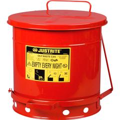 Justrite Just Rite 10-gallon Oily Waste Can - Step-on Opening - Lever Lid - 10 gal Capacity - Manual - Heat Resistant, Moisture Resistant, Rust Resistant, Durable, Powder Coated, Chemical Resistant -