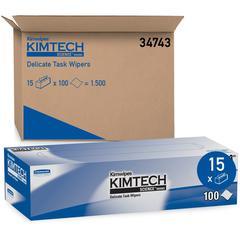 Kimberly-Clark KimWipes Delicate Task Wipers - Wipe - 119 / Box - 15 / Carton - White