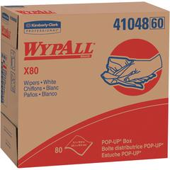 "Wypall WypAll X80 Wipers Pop-up Box - Wipe - 9.10"" Width x 16.80"" Length - 80 / Box - 400 / Carton - White"
