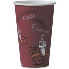 Solo Bistro Design Disposable Paper Cups - 16 fl oz - 50 / Pack - Maroon - Polyethylene - Hot Drink, Coffee, Tea, Cocoa