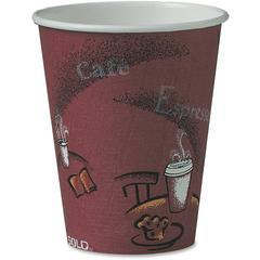 Solo Bistro Design Disposable Paper Cups - 8 fl oz - 1000 / Carton - Maroon - Paper - Beverage, Hot Drink, Cold Drink, Coffee, Tea, Cocoa