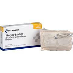 "First Aid Only 40"" Triangular Bandage - 4"" x 2.25"" - 1/Each - 100 Per Carton - Off White"