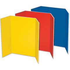 "Pacon Spotlight Tri-fold Foam Presentation Boards - 48"" Height x 36"" Width - Blue Foam, Red, Yellow Surface - 6 / Carton"