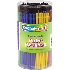 Creativity Street Canister of Paint Brushes - 144 Brush(es) - Plastic Handle - Assorted