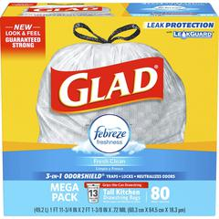 Glad Fresh Clean 13gal Tall Drawstring Bags - 13 gal - 0.78 mil (20 Micron) Thickness - White - 80/Box - 80 Per Box - Kitchen, Garbage