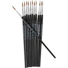 "CLI Water Color Brush - 12 Brush(es) - 0.50"" Bristle - No. 3 Hardwood - Aluminum Ferrule"