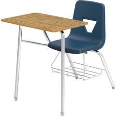"Lorell Rectangular Medium Oak Top Student Combo Desk - Medium Oak, High Pressure Laminate (HPL) Rectangle Top - Four Leg Base - 4 Legs - 24"" Table Top Width x 18"" Table Top Depth - 31"" Height - Navy -"
