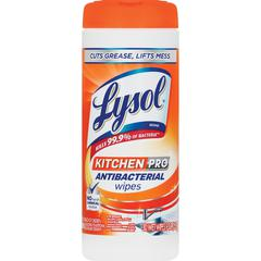Lysol Kitchen Pro Anti-bacterial Wipes - White - Anti-bacterial, Pre-moistened, Disposable, Residue-free - For Multipurpose - 30 / Each