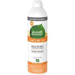 Seventh Generation Fresh Citrus/Thyme Disinfectant Spray - Spray - 0.11 gal (13.90 fl oz) - Fresh Citrus & Thyme Scent - 8 / Carton - Clear