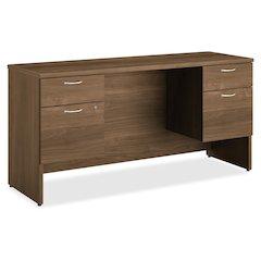 "HON 101 Series HLL2060DP Credenza - 60"" x 19.9"" x 29.5"" Credenza, Work Surface, End Panel, Modesty Panel - 4 x Box Drawer(s), File Drawer(s) - Double Pedestal on Left/Right Side - Square Edge - Materi"