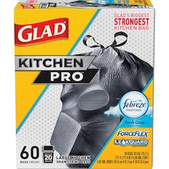 "Glad ForceFlex KitchenPro 20-gal Drawstring Bags - Large Size - 20 gal - 24.02"" Width x 32.01"" Length - Black - 1Each - Garbage, Office, Kitchen"