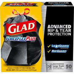 Glad 30-gal ForceFlexPlus Drawstring Bags - Large Size - 30 gal - 0.90 mil (23 Micron) Thickness - Black - 1Box - Home, Garbage, Office, Commercial, Restaurant