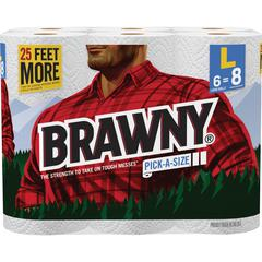 "Brawny Industrial Pick-A-Size Paper Towels - 2 Ply - 6"" x 11"" - White - Paper - Durable - For Kitchen - 6 Rolls Per Pack - 564 / Pack"