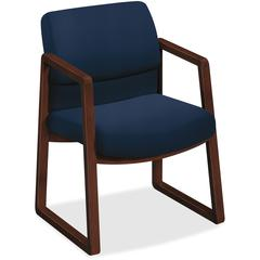 "HON 2400 Series Mocha Hardwood Sled Base Guest Chair - Navy Seat - Navy Back - Wood Frame - Sled Base - 20"" Seat Width x 20"" Seat Depth - 22.8"" Width x 25.5"" Depth x 32.5"" Height"
