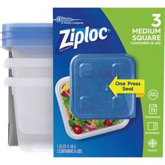 Ziploc® Food Storage Container Set - 1.3 quart Food Container, Lid - Dishwasher Safe - Microwave Safe - Clear - 3 Piece(s) / Pack