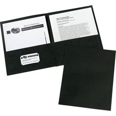"Avery Two-Pocket Folders - Letter - 8 1/2"" x 11"" Sheet Size - 20 Sheet Capacity - 2 Internal Pocket(s) - Black - 125 / Carton"