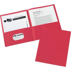 "Avery Two-Pocket Folders - Letter - 8 1/2"" x 11"" Sheet Size - 20 Sheet Capacity - 2 Internal Pocket(s) - Red - 125 / Carton"