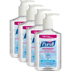 PURELL® Instant Hand Sanitizer - 8 fl oz (236.6 mL) - Pump Bottle Dispenser - Kill Germs - Hand - Clear - Moisturizing - 4 / Bundle