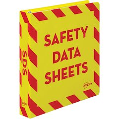"Avery Safety Data Sheets Binder - 1 1/2"" Binder Capacity - Letter - 8 1/2"" x 11"" Sheet Size - 400 Sheet Capacity - Ring Fastener - Internal Pocket(s) - Red, Yellow - 1 Each"
