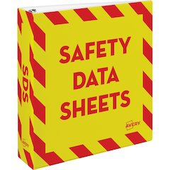"Avery Safety Data Sheets Binder - 2"" Binder Capacity - Letter - 8 1/2"" x 11"" Sheet Size - 540 Sheet Capacity - Ring Fastener - Internal Pocket(s) - Red, Yellow - 1 Each"