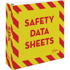 "Avery Safety Data Sheets Binder - 3"" Binder Capacity - Letter - 8 1/2"" x 11"" Sheet Size - 670 Sheet Capacity - Ring Fastener - Internal Pocket(s) - Red, Yellow - 1 Each"
