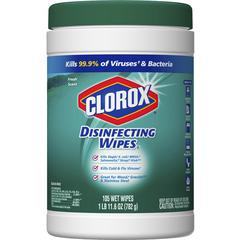 Clorox Scented Disinfecting Wipes - Wipe - Fresh Scent - 105 / Canister - 105 / Each - White