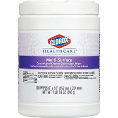 "Clorox Healthcare Quat Alcohol Cleaner Disinfectant Wipes - Wipe - 6"" Width x 10"" Length - 100 - 1 Each - White"