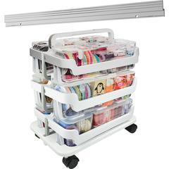 "Deflecto Stackable Caddy Organizer Caddy Bundle - 22.3"" Height x 16"" Width x 11"" Depth - Floor - White - 1Each"