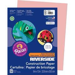 "Riverside Super Heavyweight Construction Paper - 9"" x 12"" - 50 / Pack - Salmon - Groundwood"