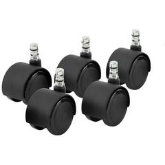 "Master Mfg. Co Noiseless Duet Carpet Casters - 7/16"" Dia. x 7/8"" Long Dual Grip Ring Stem, 110 lbs./Caster, Matte Black, 5/Set"