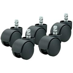 "Master Mfg. Co Noiseless Futura Carpet Casters - 7/16"" Dia. x 7/8"" Long Dual Grip Ring Stem, 110 lbs./Caster, Matte Black, 5/Set"