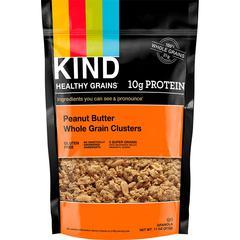 KIND Peanut Butter Whole Grain Clusters - Trans Fat Free, High-fiber, Low Sodium, Gluten-free, Tree-nut Free - Peanut Butter - 11 oz - 1 Each
