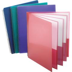"Oxford Wire Binding 8-Pocket Folders - Letter - 8 1/2"" x 11"" Sheet Size - 200 Sheet Capacity - 8 Pocket(s) - Poly - Assorted - 5 / Bundle"