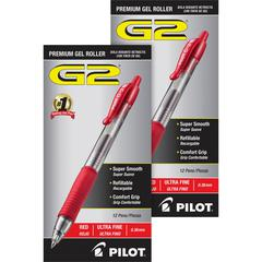 G2 Ultra Fine Retractable Pens - Ultra Fine Pen Point - 0.38 mm Pen Point Size - Refillable - Red Gel-based Ink - Clear Barrel - 24 / Bundle