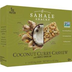 Sahale Snacks Snack Bars - Non-GMO - Coconut Curry Cashew, Ginger, Turmeric - 1.40 oz - 4 / Box