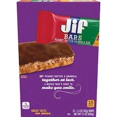 Jif Peanut Butter Granola Bars - Individually Wrapped - Chocolate Peanut Butter - 1.40 oz - 15 / Box