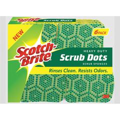 "Scotch-Brite Scrub Dots Heavy-duty Scrub Sponge - 2.5"" Height x 6.2"" Width x 4.7"" Depth - 6/Pack - Green"