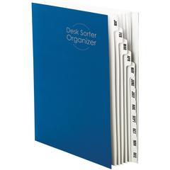 "Smead Monthly Desk File/Sorter - Letter - 8 1/2"" x 11"" Sheet Size - 12 Divider(s) - Stock - Blue - Recycled - 1 / Pack"