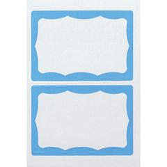 """Advantus Color Border Adhesive Name Badges - Removable Adhesive - 2 5/8"""" Height x 3 3/4"""" Width - Rectangle - White, Blue - 100 / Box"""