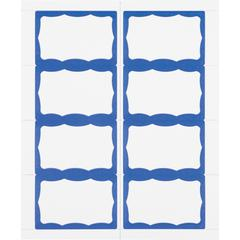 """Advantus Color Border Adhesive Name Badges - Removable Adhesive - 2 5/8"""" Height x 3 3/4"""" Width - Rectangle - White, Blue - 200 / Box"""