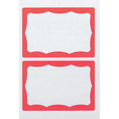 """Advantus Color Border Adhesive Name Badges - Removable Adhesive - 2 5/8"""" Height x 3 3/4"""" Width - Rectangle - White, Red - 100 / Box"""