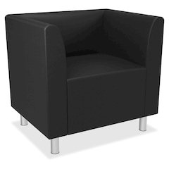 Club Chair | Fixed Arms | Black Leather
