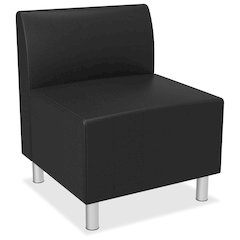 Greet Lounge Chair | Armless | Black Leather