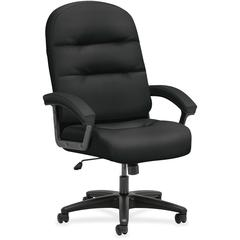 "HON Pillow-Soft Executive High-Back Chair - Fabric Black, Plush, Memory Foam Seat - Fiber Black, Fabric Back - 26.3"" Width x 29.8"" Depth x 46.5"" Height"